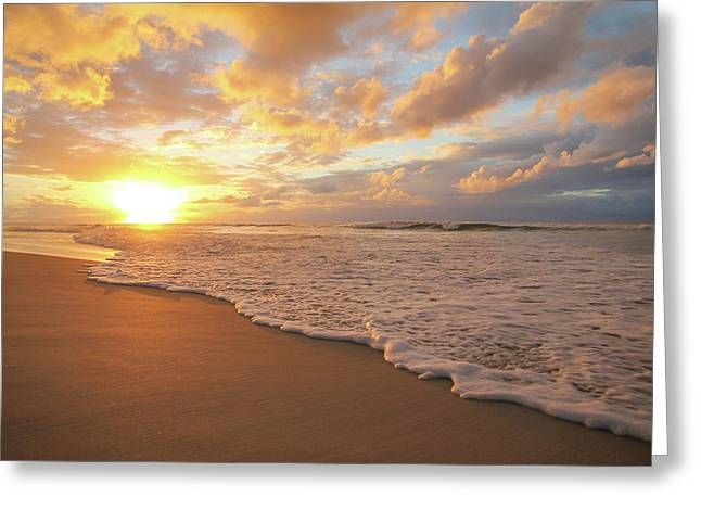 Beach Sunset With Golden Clouds Greeting Card