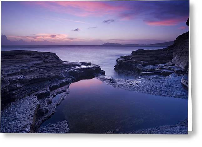 Beach Sunset Greeting Card by Zarija Pavikevik