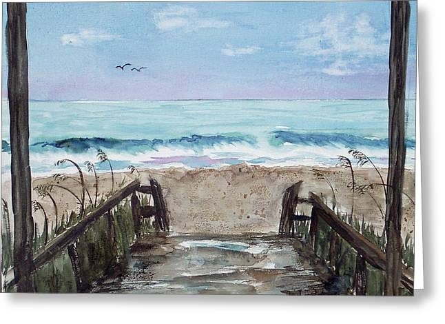 Beach Time Greeting Card by Carol Sprovtsoff
