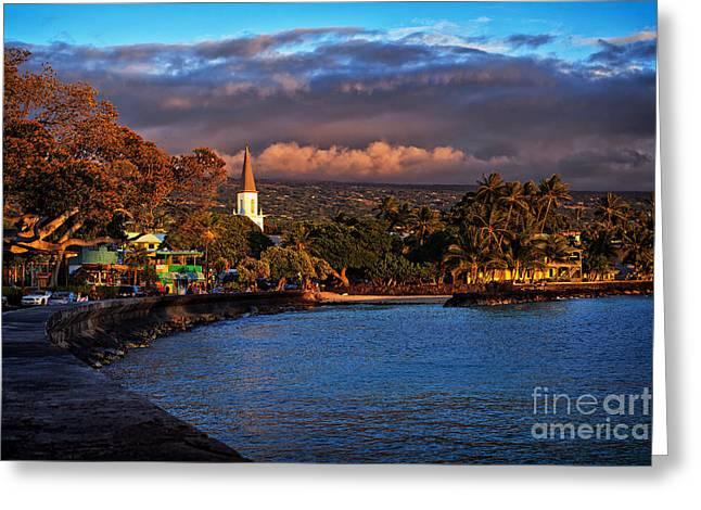 Beach Town Of Kailua-kona On The Big Island Of Hawaii Greeting Card