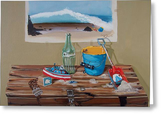 Greeting Card featuring the painting Beach Toys by Susan Roberts