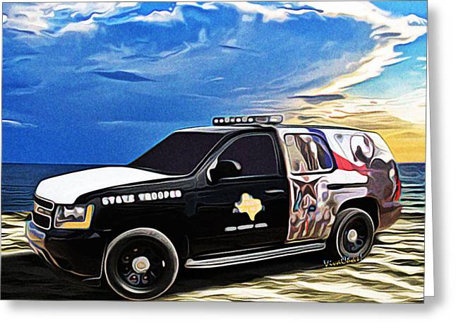 Police Cruiser Greeting Cards - Beach Trooper 4x4 Cruiser on a Texas Morning Greeting Card by Chas Sinklier