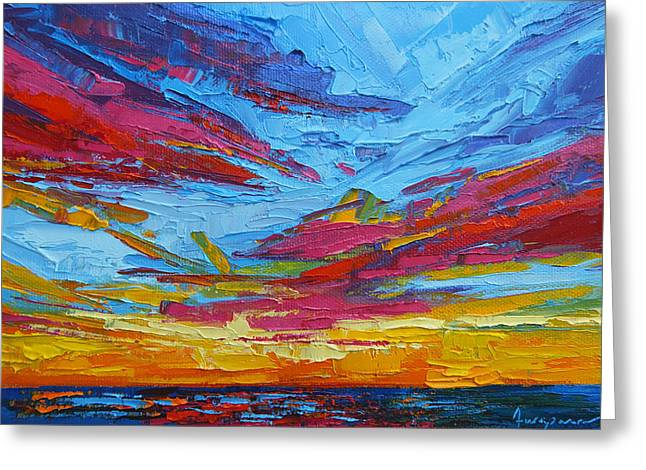 Beach Tropical Sunset Modern Impressionist Palette Knife Oil Painting Greeting Card by Patricia Awapara