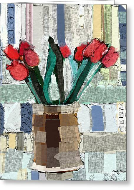 Beach Tulips Greeting Card by Carrie Joy Byrnes