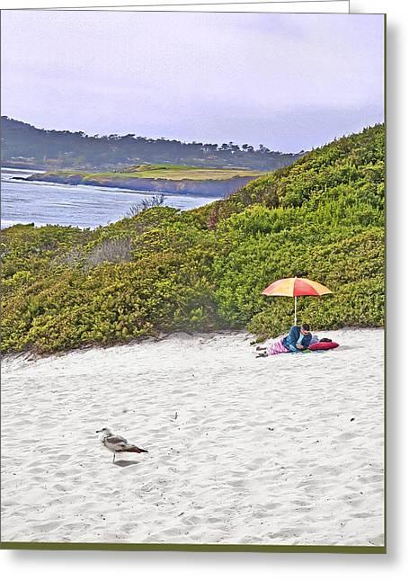 Beach Umbrella 2 - Carmel Ca Greeting Card by Steve Ohlsen