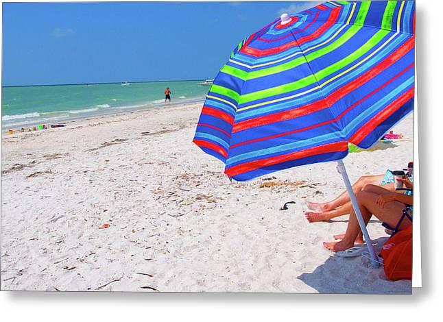 Beach Umbrella Greeting Card by Carol McCutcheon