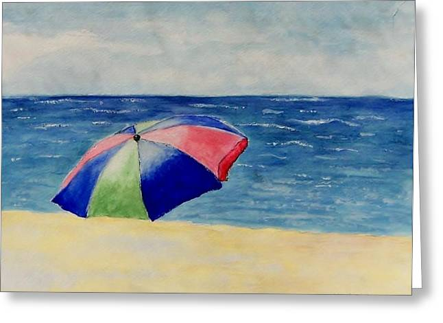 Greeting Card featuring the painting Beach Umbrella by Jamie Frier