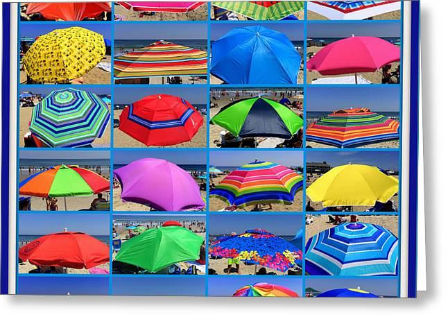Beach Umbrella Medley Greeting Card by Mitchell R Grosky