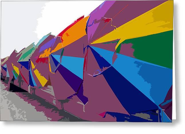Beach Umbrella Row Greeting Card by David Lee Thompson