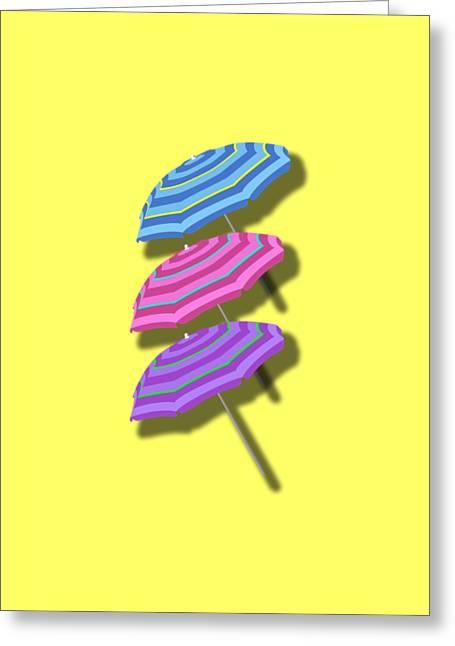 Beach Umbrellas Design Greeting Card by Edward Fielding