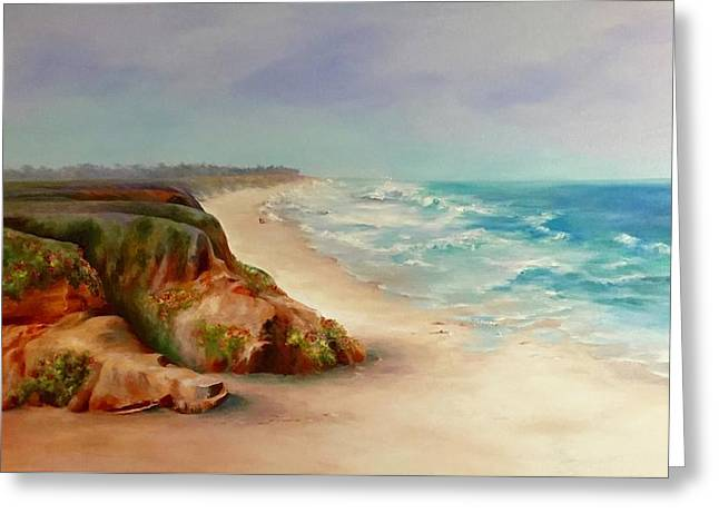 Beach Walk, Half Moon Bay Greeting Card by Donna Pierce-Clark