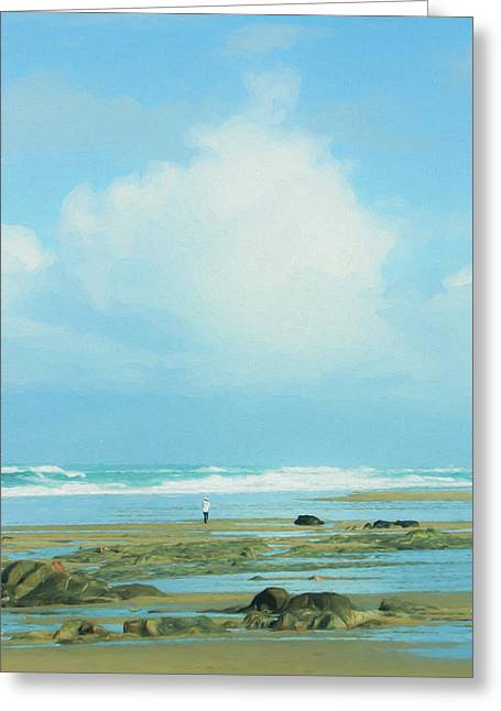 Greeting Card featuring the photograph Beach Walk Painted by Mary Jo Allen