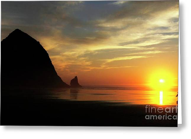 Beach Walker At Sunset Greeting Card by Bob Christopher