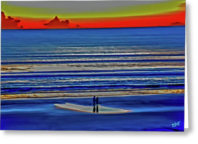 Beach Walking At Sunrise Greeting Card