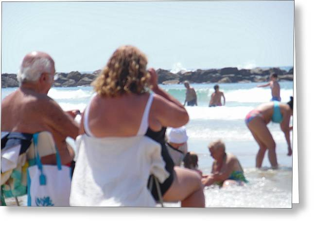 Greeting Card featuring the painting Beach Watchers by Esther Newman-Cohen