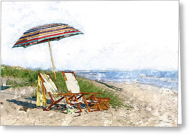 Beach Water Color Umbrella Chairs  Dune And The Ocean  Greeting Card by Elaine Plesser