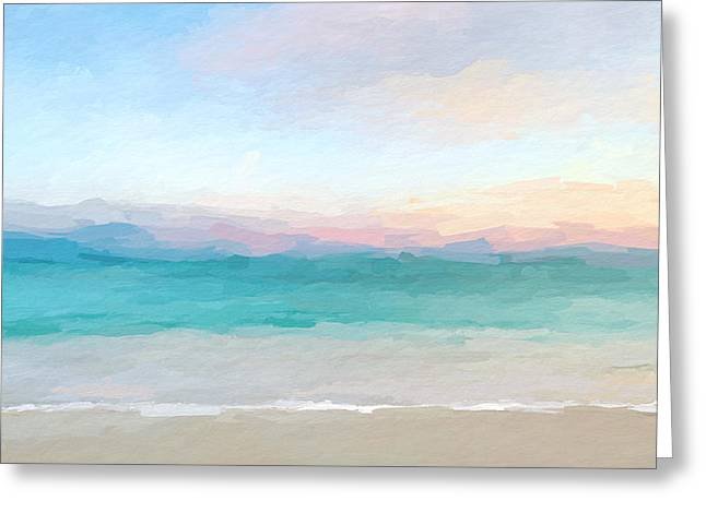 Beach Watercolor Sunrise Greeting Card