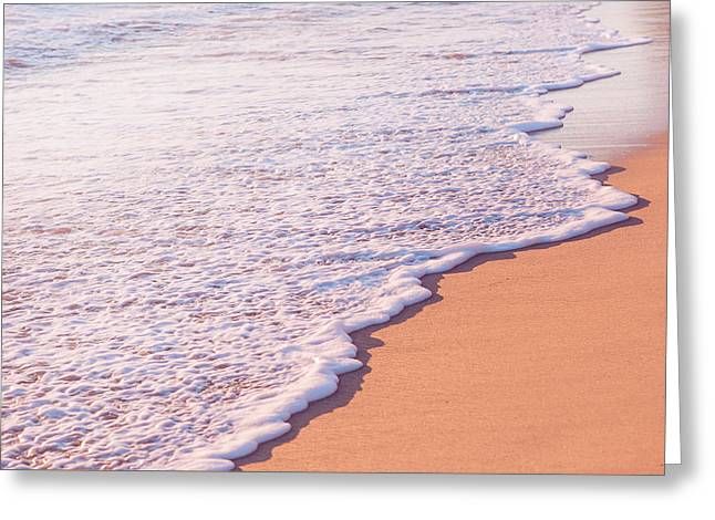 Beach Waves At Sunset  Greeting Card