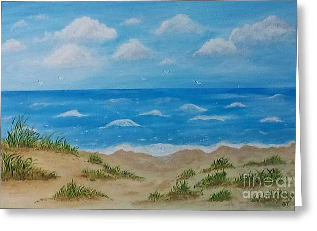 Greeting Card featuring the painting Beach Waves by Sonya Nancy Capling-Bacle