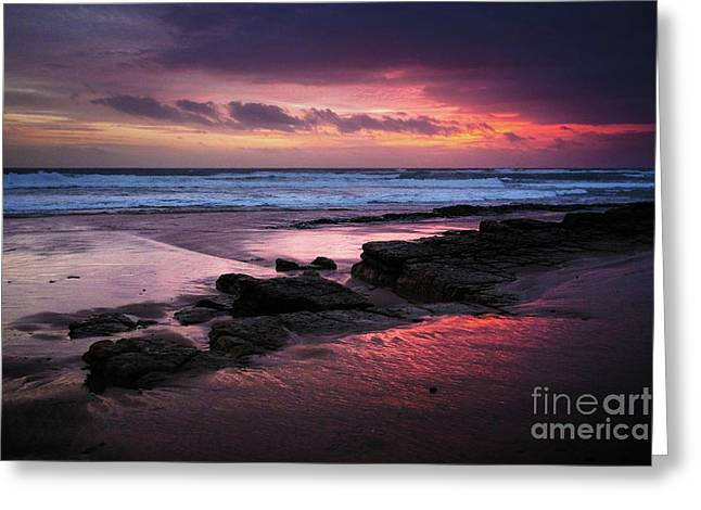 Beach Winter Sunset 1 Greeting Card by Carlos Caetano