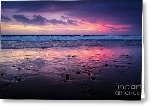 Beach Winter Sunset 2 Greeting Card by Carlos Caetano