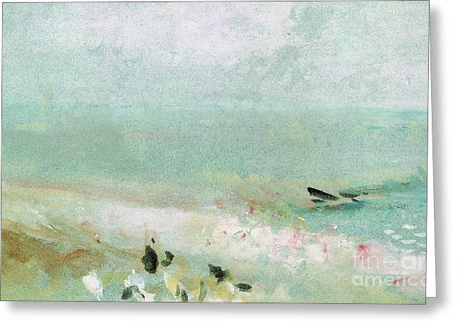 Beach With Figures And A Jetty Greeting Card by Joseph Mallord William Turner