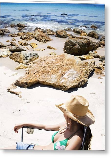Beach Woman Greeting Card by Jorgo Photography - Wall Art Gallery