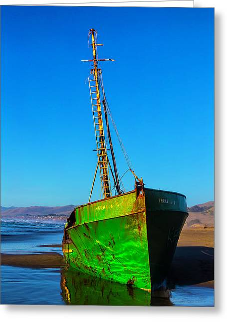 Beached Abandoned Boat Greeting Card