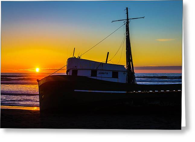 Beached Boat At Sunset Greeting Card