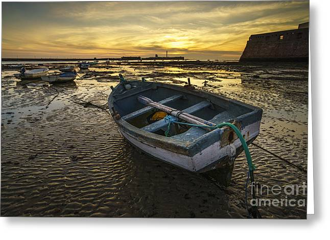 Beached Boat On La Caleta Cadiz Spain Greeting Card