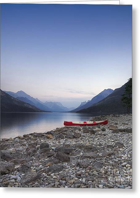 Beached Canoe Awaits Nightfall Greeting Card by Royce Howland