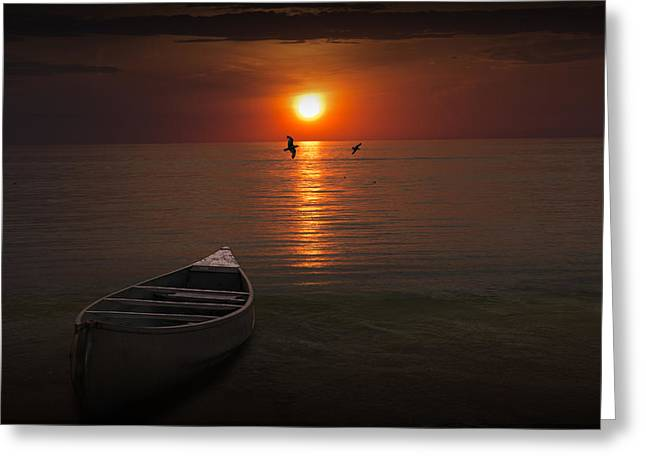 Beached Canoe During Sunset Greeting Card