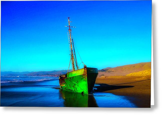 Beached Old Green Fishing Boat Greeting Card