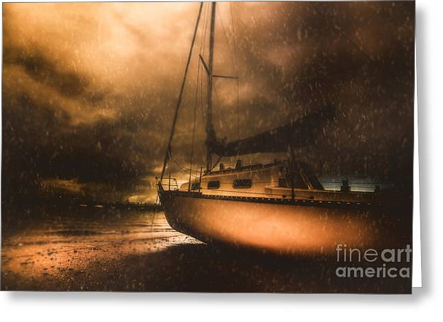 Beached Sailing Boat Greeting Card by Jorgo Photography - Wall Art Gallery