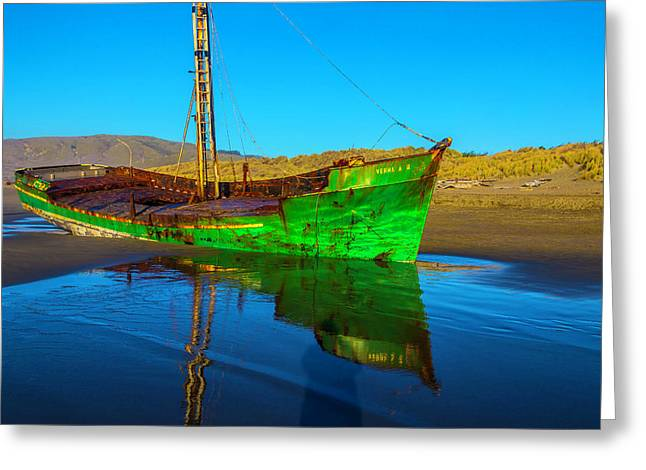 Beached Worn Green Fishing Boat Greeting Card