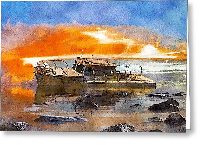 Greeting Card featuring the painting Beached Wreck by Mark Taylor