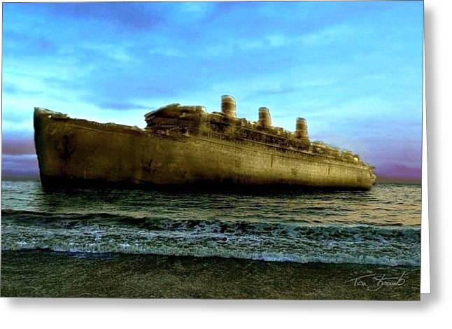 Beached Wreck Greeting Card by Tom Straub