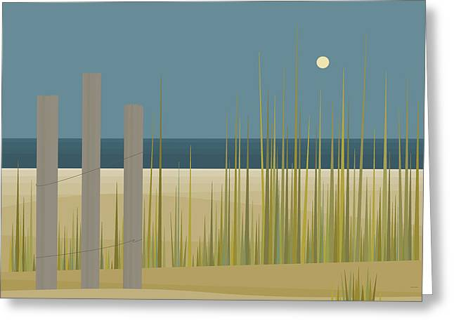 Beaches - Fence Greeting Card by Val Arie
