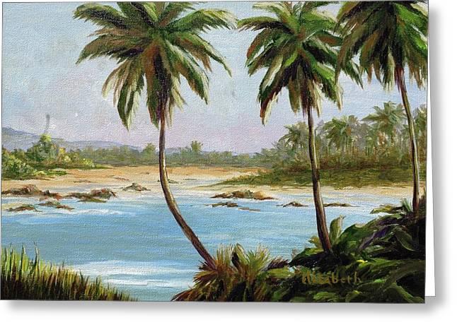 Beachfont Palms Greeting Card by Beth Maddox