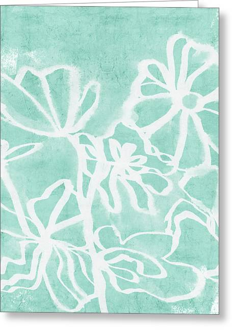Greeting Card featuring the mixed media Beachglass And White Flowers 2- Art By Linda Woods by Linda Woods