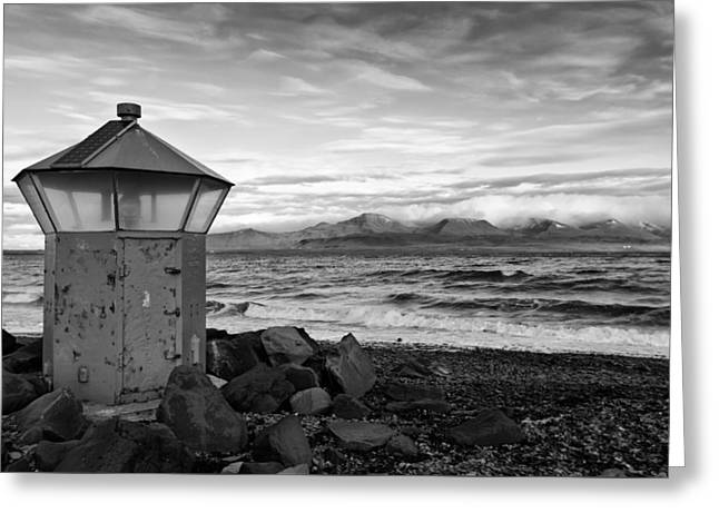 Beacon At Hvaleyrarviti In Iceland Bw Greeting Card by Andres Leon