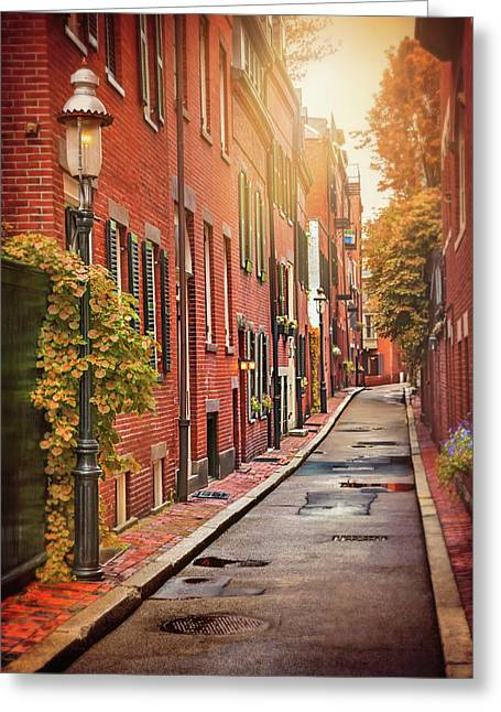Beacon Hill Area Of Boston  Greeting Card