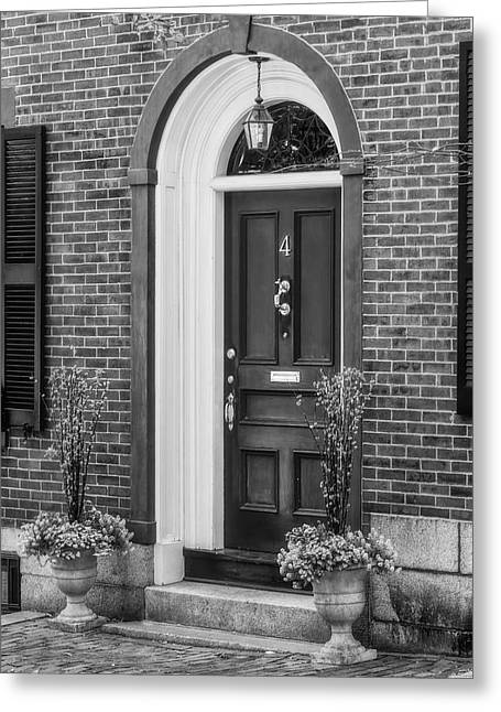 Beacon Hill Red Door Bw  Greeting Card by Susan Candelario