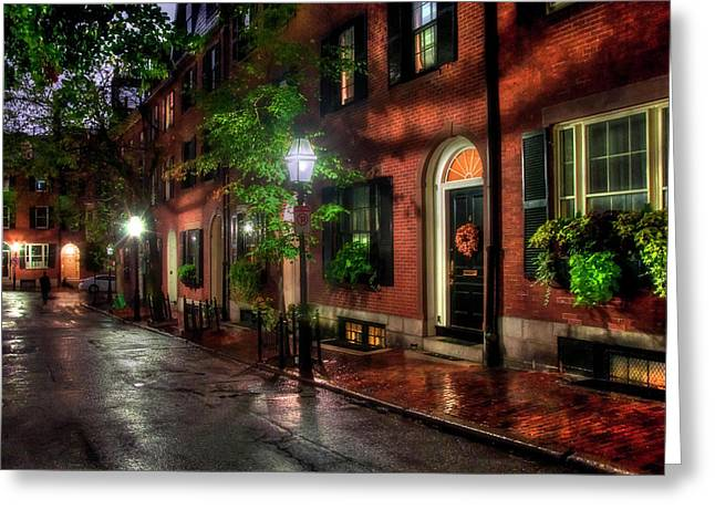 Beacon Hill Street Reflections - Boston Greeting Card by Joann Vitali