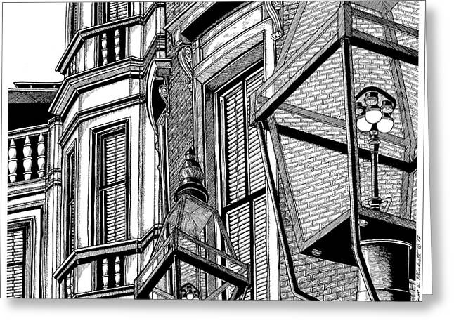 Beacon Hill Windows-boston Greeting Card by Conor Plunkett