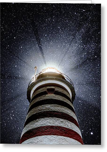 Beacon In The Night West Quoddy Head Lighthouse Greeting Card