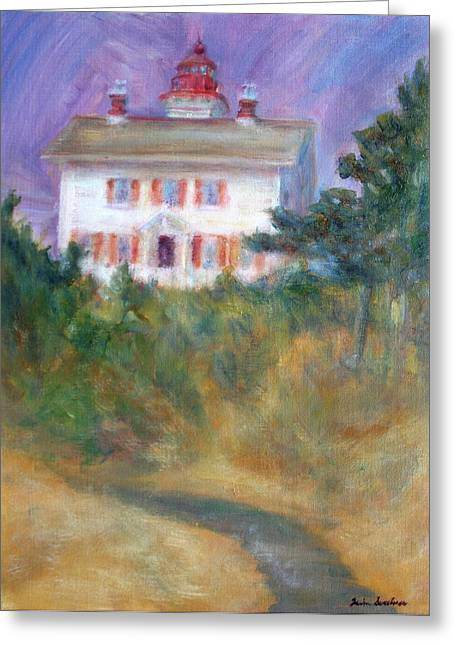 Beacon On The Hill - Lighthouse Painting Greeting Card by Quin Sweetman