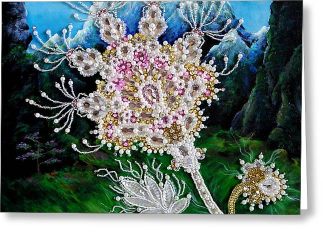 Bead Embroidery. Pearl Flower Of Shambala Greeting Card by Sofia Metal Queen