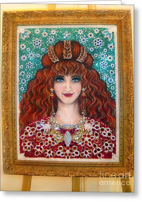 Sarah Goldberg Beauty Queen. Beadwork Greeting Card by Sofia Metal Queen