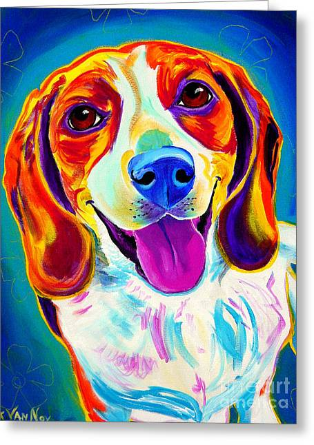 Beagle - Lucy Greeting Card by Alicia VanNoy Call